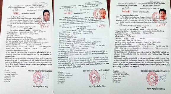 Lệnh truy nã của Công an Kiên Giang đối với 3 phạm nhân vừa trốn khỏi trại tạm giam Công an tỉnh Kiên Giang
