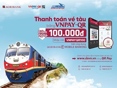 Ưu đãi giảm 100.000 đồng khi thanh toán vé tàu tết bằng QR Pay trên ứng dụng Agribank E-Mobile Banking - 1