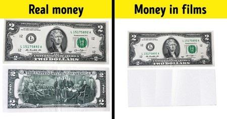 """""""Quy chế ban hành tiền tệ"""" trong các bộ phim vô cùng đa dạng. Ở Mỹ, tiền giả trong phim thường chỉ được phép có một mặt, ngay cả kích thước cũng không được phép giống như thật mà chỉ có thể bé bằng khoảng 75% hoặc lớn hơn khoảng 50% so với tiền thật. Đây là quy tắc cần thiết được tuân theo vì hồi quay bộ phim """"Rush house 2"""" tại Las Vegas, chỉ vì làm tiền giả quá giống tiền thật mà một vài người đã cố gắng dùng tiền giả sau một cảnh quay tại sòng bạc."""
