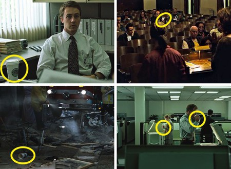 """Không phải ngẫu nhiên mà trong phim """"Fight club"""", một chiếc cốc cà phê cứ xuất hiện liên tục trong các bối cảnh. Đại diện chuỗi cà phê này dĩ nhiên đã phải đọc qua kịch bản và cho phép bộ phim sử dụng hình ảnh của mình."""