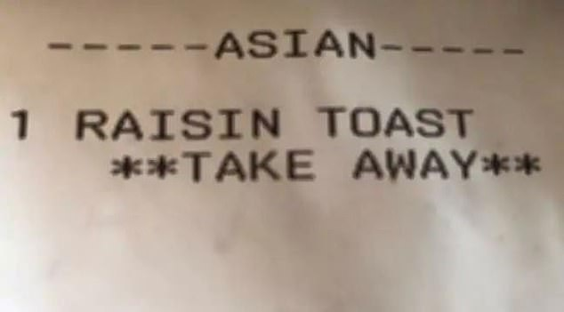 Thực khách người Trung Quốc cho rằng bị phân biệt chủng tộc vì cô nhận được tờ hóa đơn có ghi ký hiệu Người châu Á