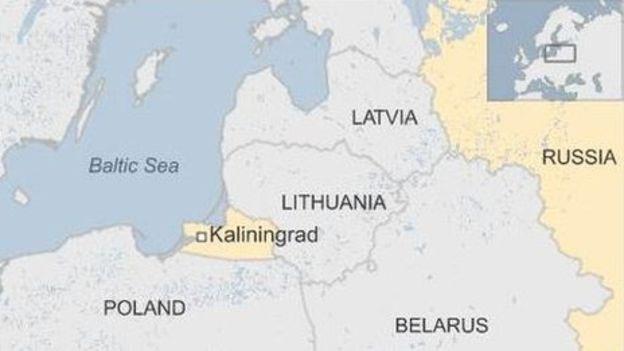Bản đồ vùng Kaliningrad và Ba Lan. (Ảnh: BBC)