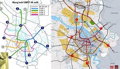 Sơ đồ hướng tuyến đã được JICA đề xuất 2006: Tuyến 3 (đoạn 3.2) bắt đầu ở cuối phố Trần Hưng Đạo tới phố Tam Trinh. Đề xuất của City Solution 2018 đi ngầm dưới phố Trần Hưng Đạo và kết hợp với cầu ngầm vượt sông sang vùng phát triển đô thị giá trị cao phía Bắc sông Hồng.
