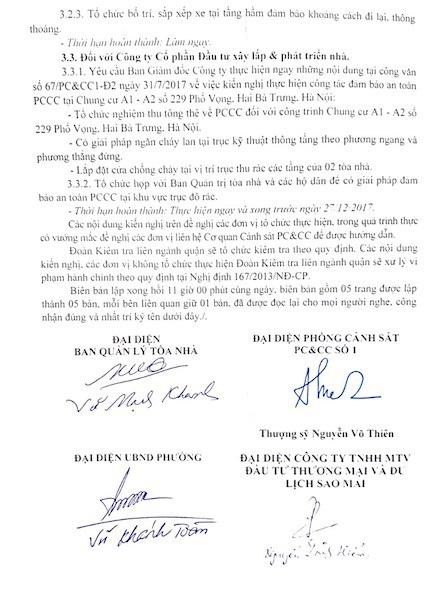 Đoàn kiểm tra liên ngành quận Hai Bà Trưng yêu cầu lập tức khắc phục sai phạm về PCCC tại chung cư 229 phố Vọng.