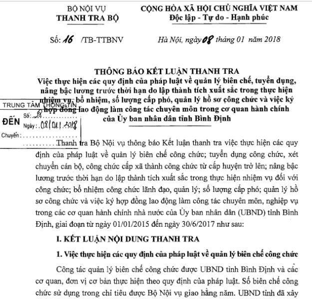 Trước đó, Thanh tra Bộ Nội vụ có kết luận về việc bổ nhiệm cán bộ ở Bình Định còn thiếu sót.