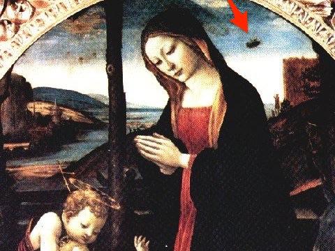 """Bức """"Đức Mẹ và Thánh Giovannino"""" do họa sĩ người Ý Domenico Ghirlandaio thực hiện được cho là có """"vật thể bay không xác định"""" UFO xuất hiện trong tranh."""