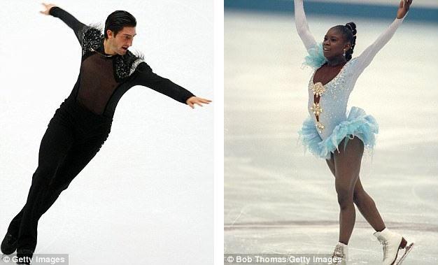 Vận động viên trượt băng người Mỹ Evan Lysacek (trái) mặc một bộ đồ bó sát, trong suốt ở phần thân trên, cũng được thiết kế bởi nhà mốt Vera Wang; vận động viên trượt băng người Pháp Surya Bonaly mặc bộ đầm sử dụng nhiều chất liệu vải trong suốt do nhà mốt Christian Lacroix thực hiện; ảnh chụp tại Olympic Mùa đông 1992.