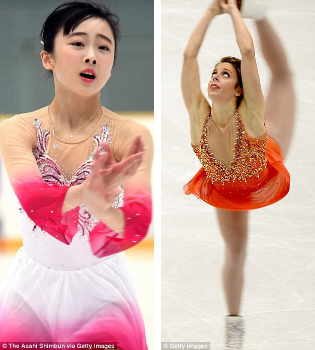 """Vận động viên trượt băng người Nhật Miyu Honda (trái) và vận động viên trượt băng người Mỹ Ashley Wagner (phải) đều sử dụng phải trong suốt màu """"nude"""" trong thiết kế trang phục biểu diễn."""