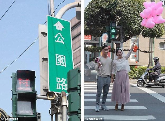 """Những cột đèn giao thông """"tình yêu"""" đã được lắp đặt tại huyện Bình Đông, Đài Loan, tạo nên niềm hưng phấn, thích thú đối với cả du khách và người dân bản địa."""