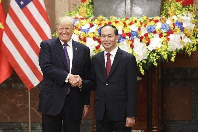Chủ tịch nước Trần Đại Quang và Tổng thống Donald Trump trong chuyến thăm Việt Nam hồi tháng 11/2017