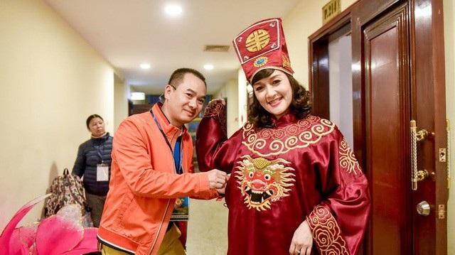 Nghệ sĩ Vân Dung trong hậu trường Táo Quân 2018 (Ảnh: Toàn Vũ).