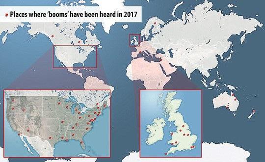 Vị trí những tiếng nổ bí ẩn được ghi nhận trong năm 2017. Ảnh: Daily Mail