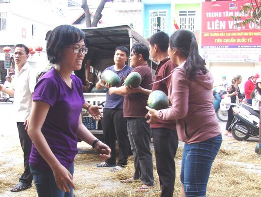 Các đoàn thể chính quyền đang thu dọn một bãi dưa hấu của anh Lâm Văn Hy trên đường Hậu Giang để trả lại mặt bằng cho người dân vui xuân.