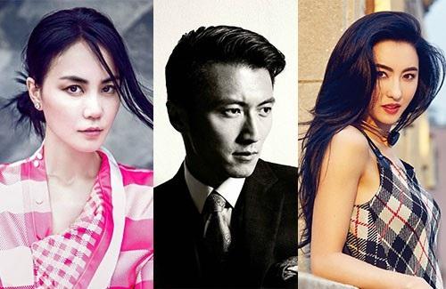 """Chuyện tình """"ba bên"""" phức tạp của những ngôi sao hàng đầu trong giới showbiz Hoa ngữ vẫn tiếp tục là câu chuyện hấp dẫn công chúng. Trong ảnh, từ trái sang phải: Vương Phi - Tạ Đình Phong - Trương Bá Chi."""