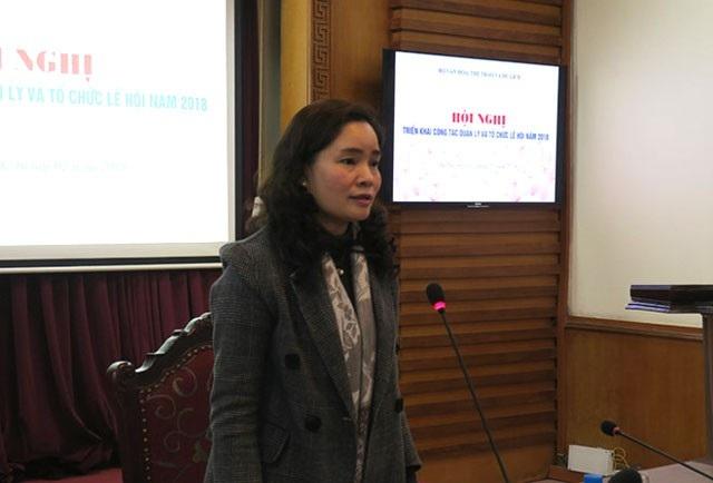 Thứ trưởng Bộ VH,TT&DL Trịnh Thị Thủy chủ trì Hội nghị (Ảnh: Hồng Hà)