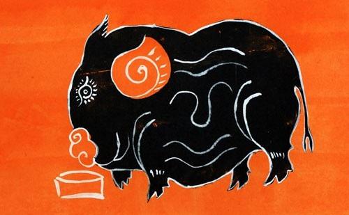 Một trong những bức tranh Lợn rất đặc trưng của dòng tranh Kim Hoàng.
