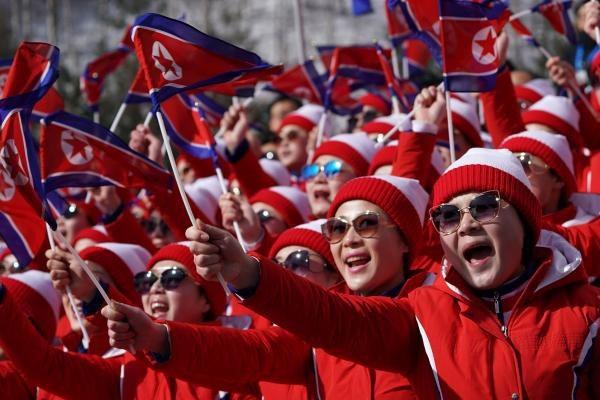 Đội cổ vũ Triều Tiên tại Thế vận hội mùa Đông ở Hàn Quốc (Ảnh: UPI)
