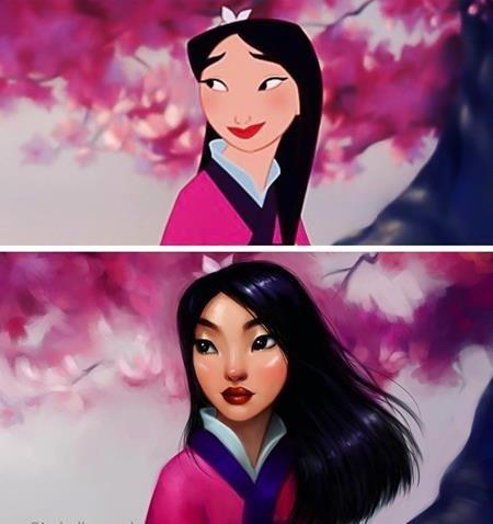 """Nàng Mulan trong """"Mulan"""" (1998) thì lúc nào cũng có đôi mắt một mí đáng yêu và cặp môi đỏ thắm"""