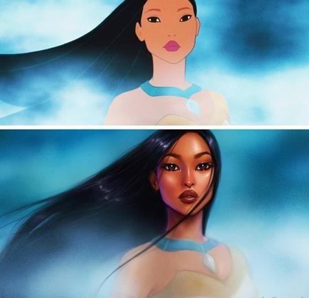 Pocahontas của hiện tại cũng sẽ đẹp mặn mà hơn rất nhiều nếu so sánh với nét mộc mạc của Pocahontas trong bộ phim cùng tên ra mắt từ năm 1995