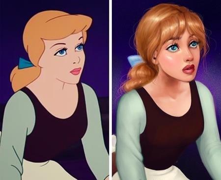 """Để phù hợp với thị hiếu hiện tại, nàng Lọ Lem trong """"Cinderella"""" (1950) sẽ có một cặp mắt xanh dương ấn tượng, mái tóc vàng óng và còn được tỉa mái rất hợp mốt"""