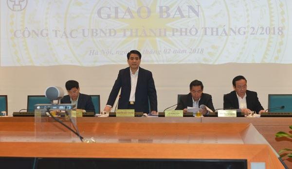 Ông Nguyễn Đức Chung - Chủ tịch UBND TP Hà Nội phát biểu tại phiên họp