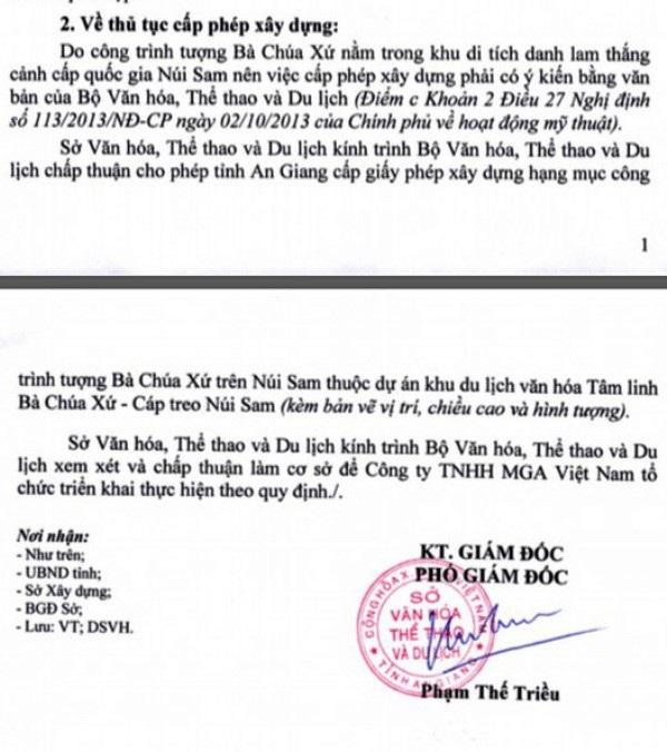 Thế nhưng dân không biết và đến ngày 7/02, Sở VHTT&DL AN Giang mới có văn bản gửi Bộ VHTT&DL xin ý kiến cấp phép xây dựng công trình tượng bà Chúa Xứ trên núi Sam