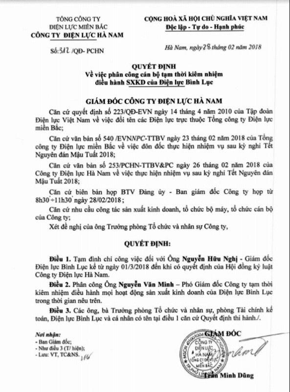 Quyết định tạm đình chỉ Giám đốc công ty Điện lực huyện Bình Lục
