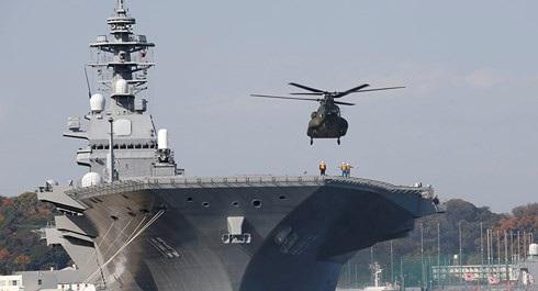 Tàu khu trục lớp Izumo mới của Nhật Bản được bí mật thiết kế để phù hợp với hoạt động của máy bay đa nhiệm tàng hình thế hệ thứ 5, F-35B. Ảnh: Sputnik