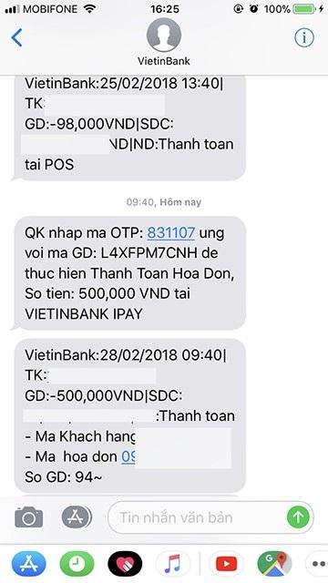 Ông H. bức xúc vì đã bị trừ tiền từ tài khoản của ngân hàng Vietinbank nhưng chưa nhận được tiền từ Mobifone.
