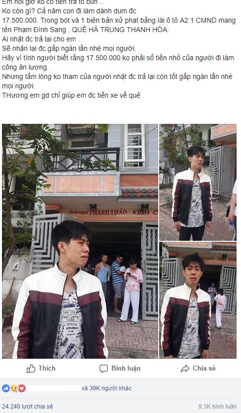 Chuyện mất tiền về quê ăn Tết của em Sang được cộng đồng mạng tích cực chia sẻ với hi vọng giúp em tìm được số tiền hoặc giấy tờ đã mất.