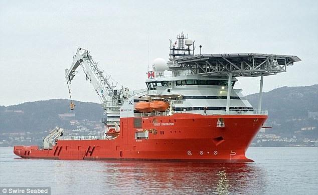 Seabed Constructor tham gia tìm kiếm máy bay mất tích MH370 của hãng hàng không Malaysia Airlines từ cuối tháng 1/2018. (Ảnh: Dailymail)