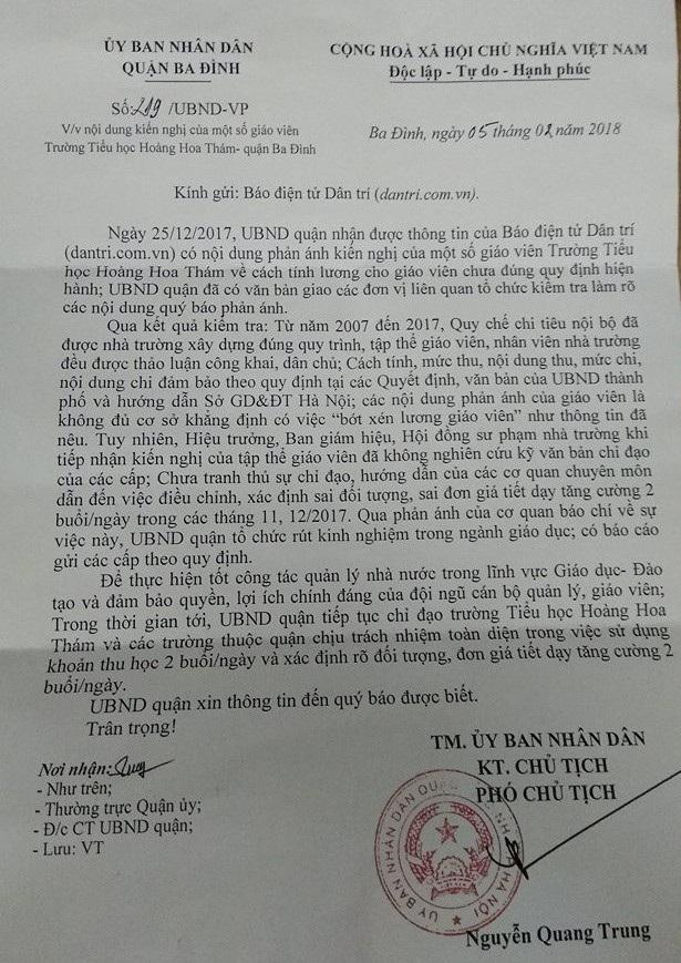 UBND quận Ba Đình khẳng định, không có cơ sở khẳng định giáo viên bị bớt tiền dạy 2 buổi/ngày.