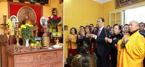 Chủ tịch nước Trần Đại Quang dâng hương tưởng niệm Chủ tịch Hồ Chí Minh tại Nhà 67 trong Khu Di tích Phủ Chủ tịch. (Ảnh: An Đăng/TTXVN)