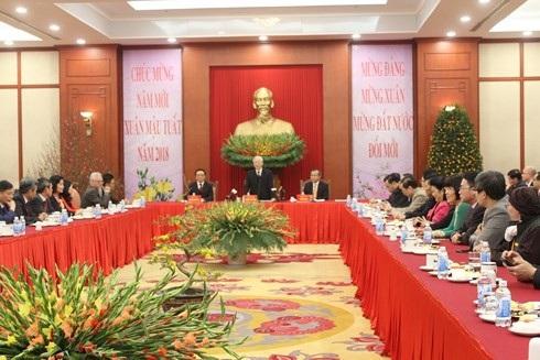 Tổng Bí thư Nguyễn Phú Trọng tiếp Đoàn kiều bào tiêu biểu về nước dự Chương trình Xuân Quê hương 2018