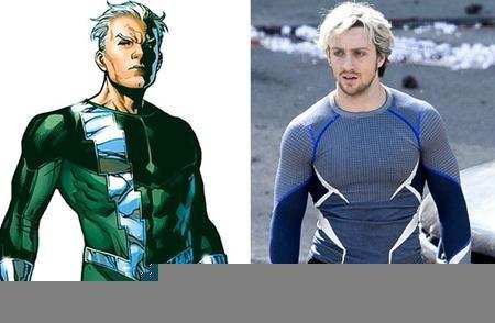 """Trong truyện tranh, Quicksilver diện một bộ đồ xanh lá nhưng lên phim thì anh chàng này lại chọn một bộ trang phục xanh xám khá """"ngầu"""""""