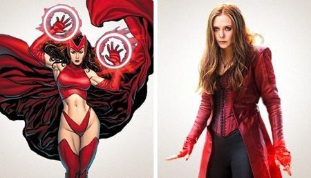 """Theo nguyên tác truyện tranh thì Scarlet Witch chững chạc hơn, trưởng thành hơn và thường xuất hiện với những bộ cánh """"thiếu vải"""" hơn nhiều"""