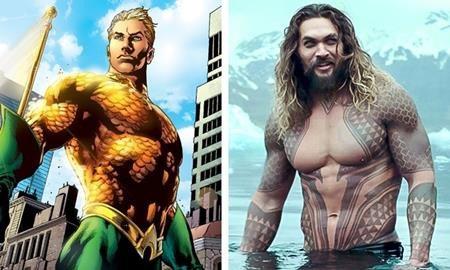 Aquaman trên màn ảnh không có mái tóc ngắn, không có lớp vảy óng ánh, không có cả lớp trang phục xanh rì nhưng trông anh chàng vẫn rất cá tính và mạnh mẽ dưới sự thể hiện của Jason Momoa