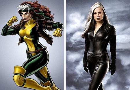Khi lên phim, dị nhân Rogue có một bộ trang phục da đen bó sát thay vì sặc sỡ xanh vàng theo như nguyên tác