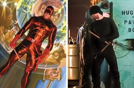"""Bộ trang phục da bó màu đỏ đã được """"đóng đinh"""" cho nhân vật Daredevil, tuy nhiên, khi chuyển thể lên màn ảnh nhỏ, nhà sản xuất chỉ chọn một bộ quần áo đen với chiếc mặt nạ đơn giản giúp Daredevil dễ dàng ngụy trang khi hành sự"""