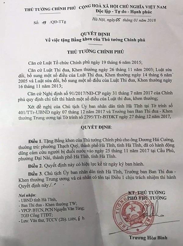 Quyết định tặng Bằng khen cho ông Dương Hải Cường của Thủ tướng Chính phủ.