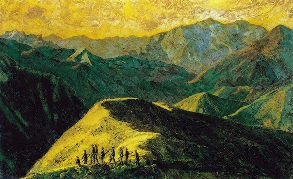 Tác phẩm Nhớ một chiều Tây Bắc do họa sĩ Phan Kế An vẽ bằng chất liệu sơn mài năm 1955. Ảnh đang trưng bày tại Bảo tàng Mỹ thuật Việt Nam. Ảnh: Quang Việt.