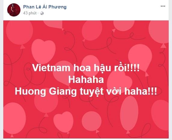 Ca sĩ Phan Lê Ái Phương vô cùng phấn khích trước chiến thắng của Hương Giang Idol
