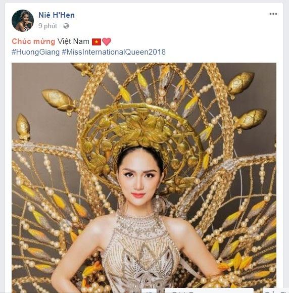 Hoa hậu Hoàn vũ Việt Nam 2017 Hhen Niê cũng gửi lời chúc mừng. Trước khi Hương Giang bước vào đêm chung kết, Hhen cũng chia sẻ hy vọng và sự ủng hộ của mình dành cho Hương Giang.