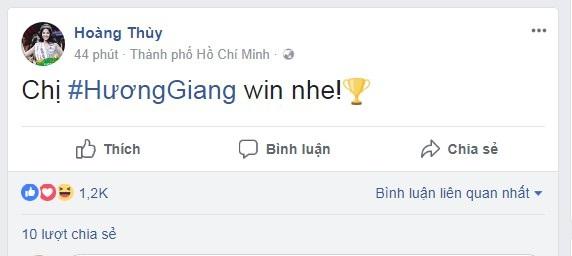 MC Nguyên Khang chia sẻ khá dài và gửi lời chúc mừng chiến thắng tới Hương Giang
