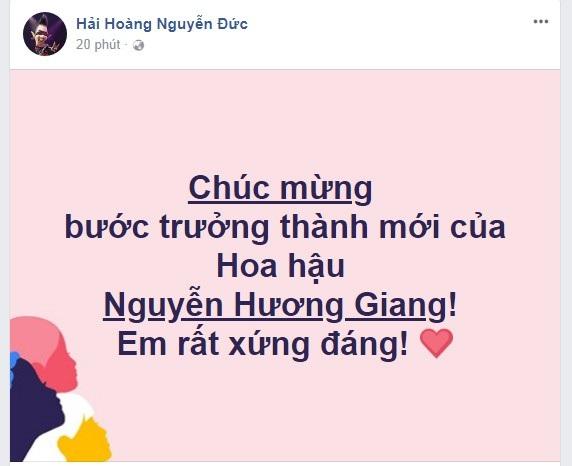 Ca sĩ - MC Hoàng Rapper khẳng định Hương Giang xứng đáng với chiến thắng Quốc tế lần này.