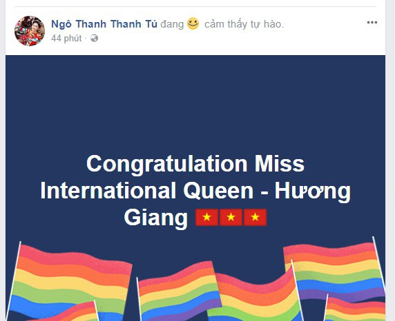 Á hậu Ngô Thanh Thanh Tú chúc mừng Hương Giang khi cô giành ngôi vị Hoa hậu chuyển giới Quốc tế