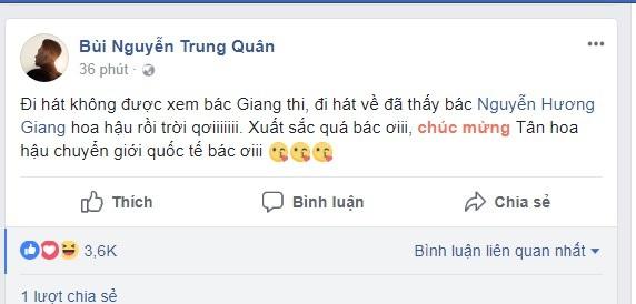 Giọng ca Vết mưa hết lời khen ngợi trước chiến thắng của Hương Giang