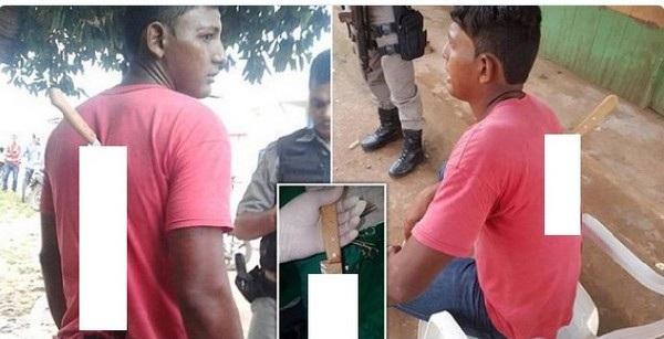 Elionardo Nascimento với con dao cắm sau lưng nhưng không hề hay biết mình đã bị đâm