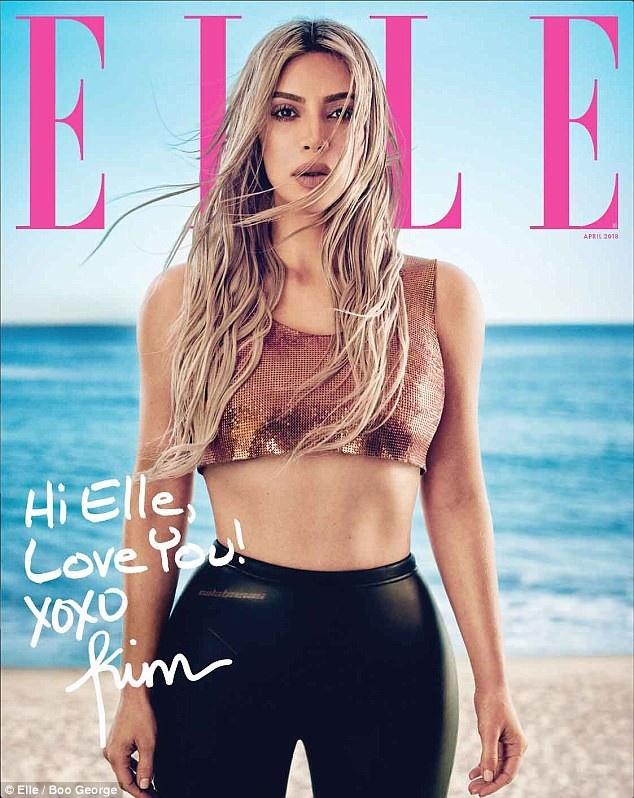 Kim Kardashian khoe thân trên tạp chí Elle, số tháng 4/2018.