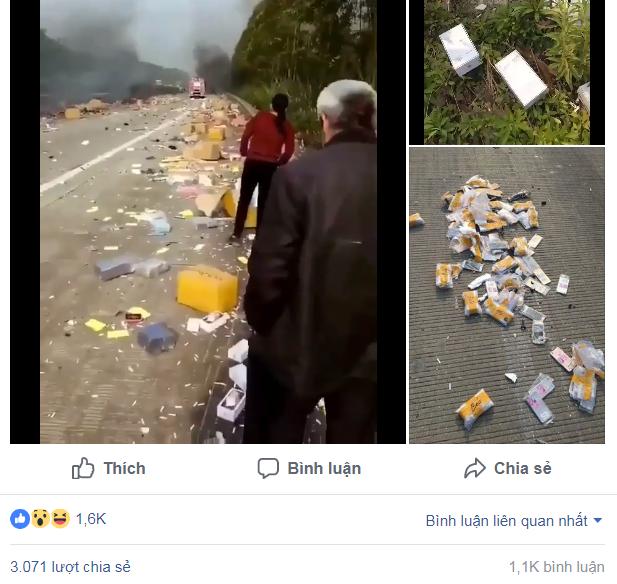 Hình ảnh và video vụ tai nạn xe tải chở iPhone thu hút sự quan tâm lớn từ cộng đồng mạng.